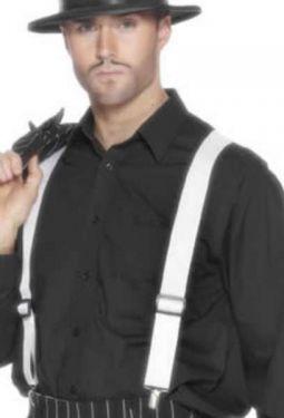 Gangster Fancy Dress - Braces - White